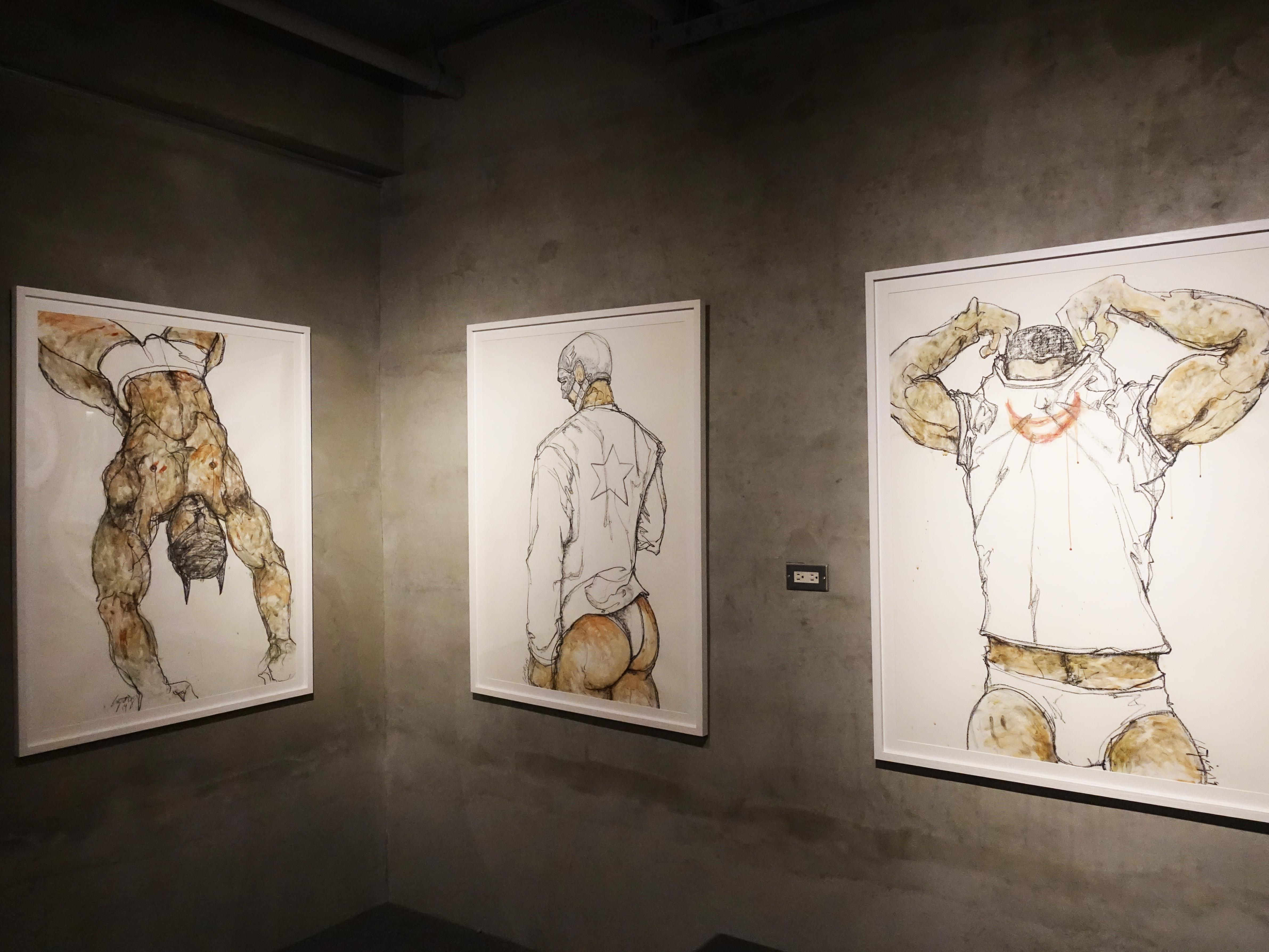 林俊良,《Man line》系列,105.5 x 79 cm,油畫棒、膠彩繪於紙上。