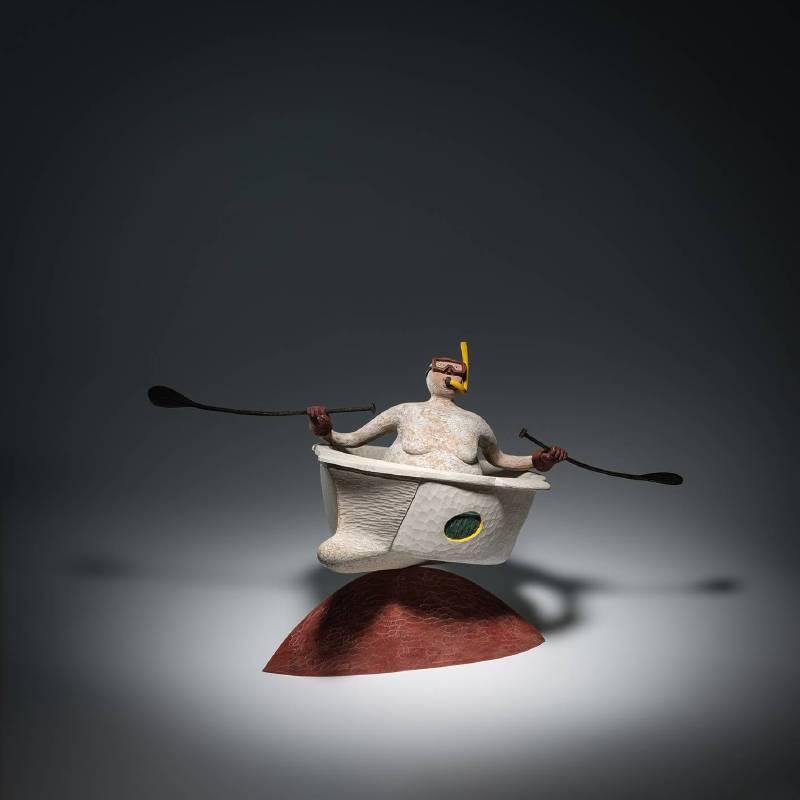 張士飛│湖中散記 - 航行的實踐者│樟木、桂楠木、壓克力顏料、色鉛筆│35x35x45cm│2019