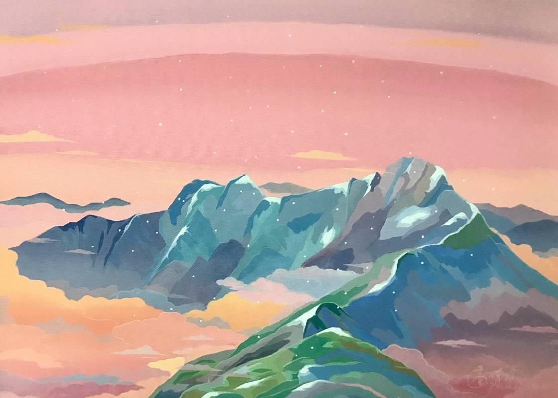 高堉銓│玉山初雪│壓克力顏料、油畫布│33x45.5 cm│2019