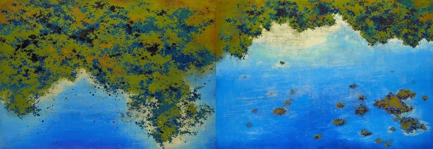 游雅蘭 風景地圖 2018 木刻油印凸版 97x284cm