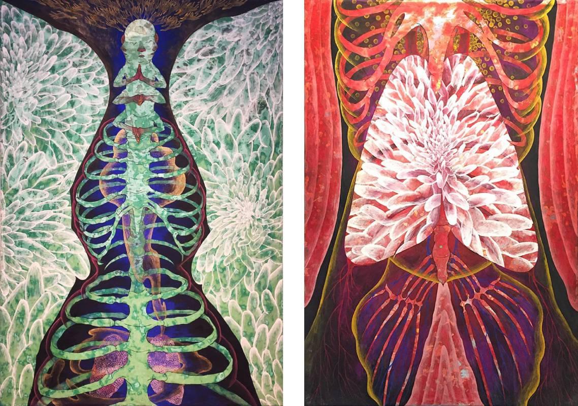 黃柏維《呼‧吸》膠彩、壓克力、麻布,70x48cm x2件,2014
