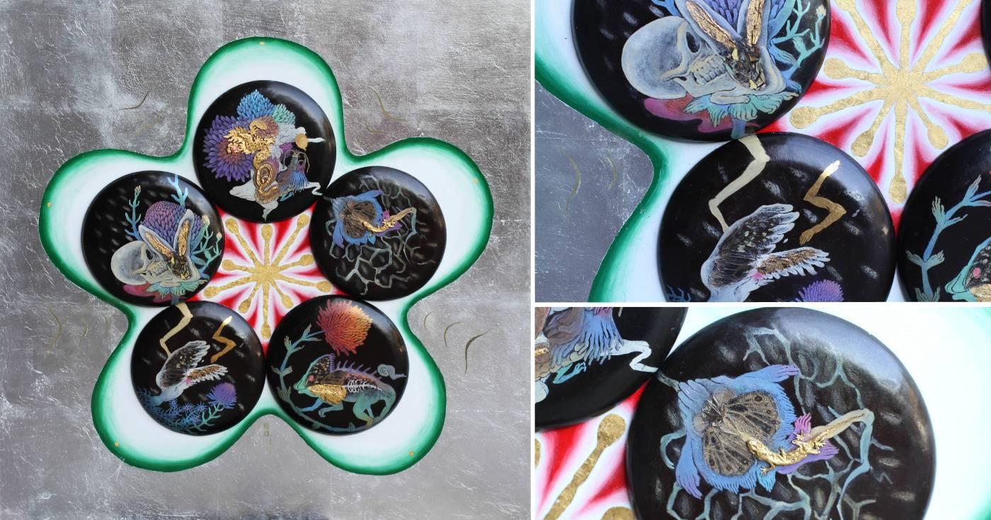 黃柏維《黑梅》天然漆、油彩、木、標本,60x60cm,2019