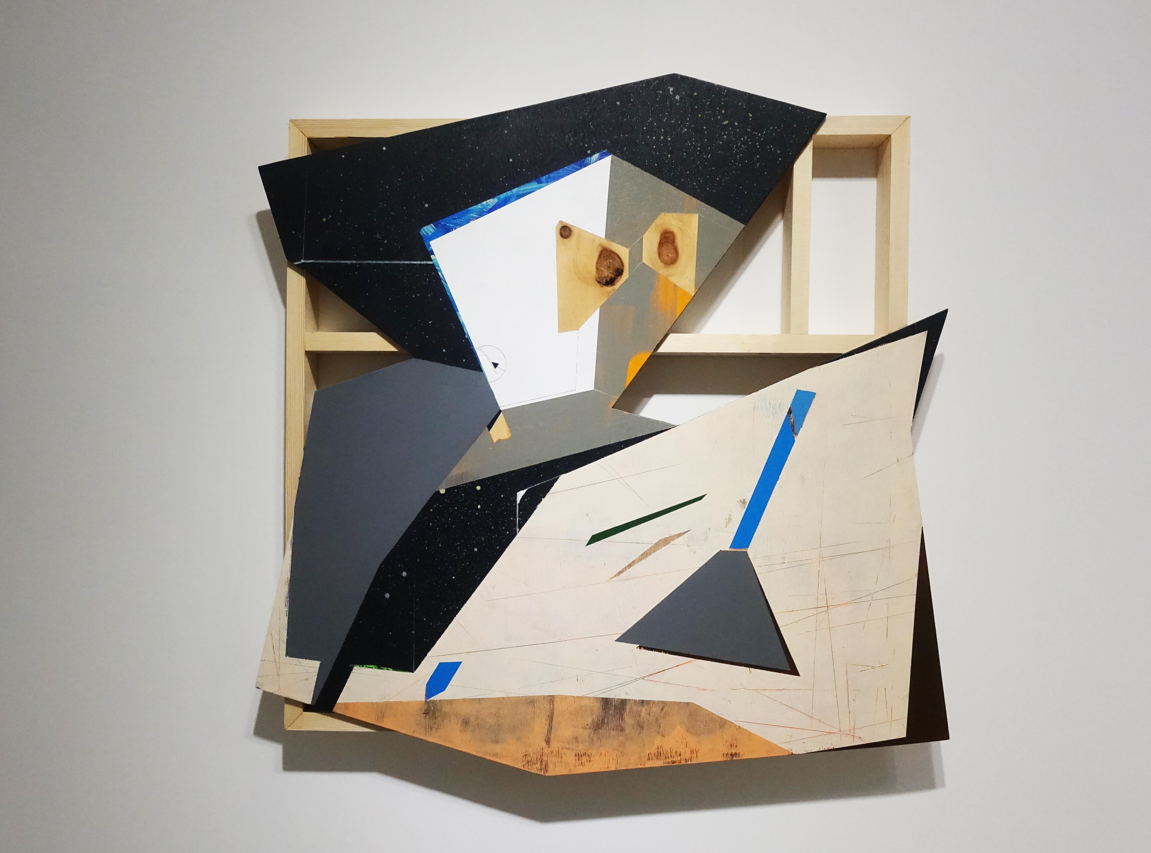 張獻文,《層敘・砌3》,60x60x5 cm,木板、丙烯酸顏料、炭精筆、鉛筆,2019。