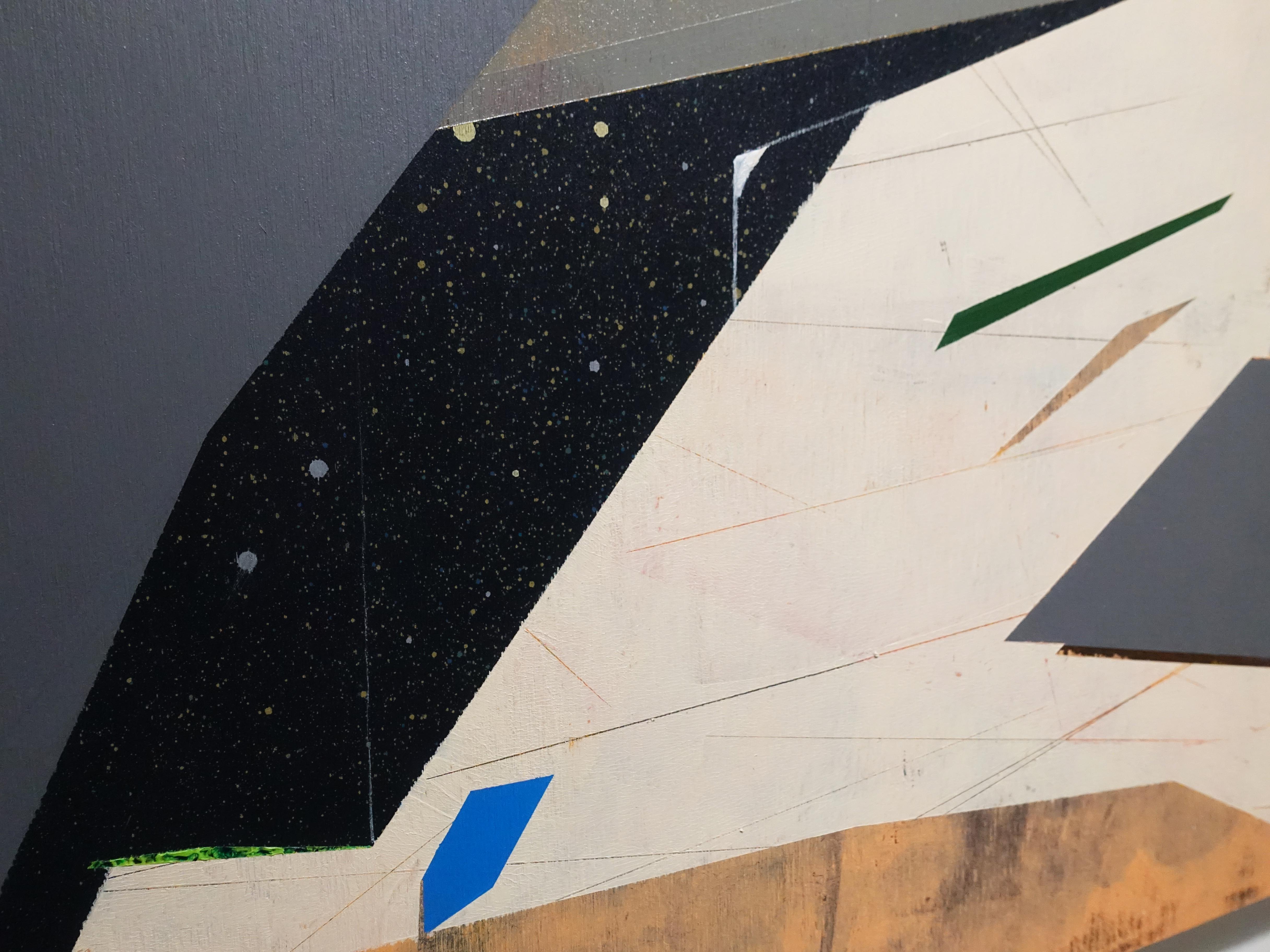 張獻文,《層敘・砌3》細節,60x60x5 cm,木板、丙烯酸顏料、炭精筆、鉛筆,2019。