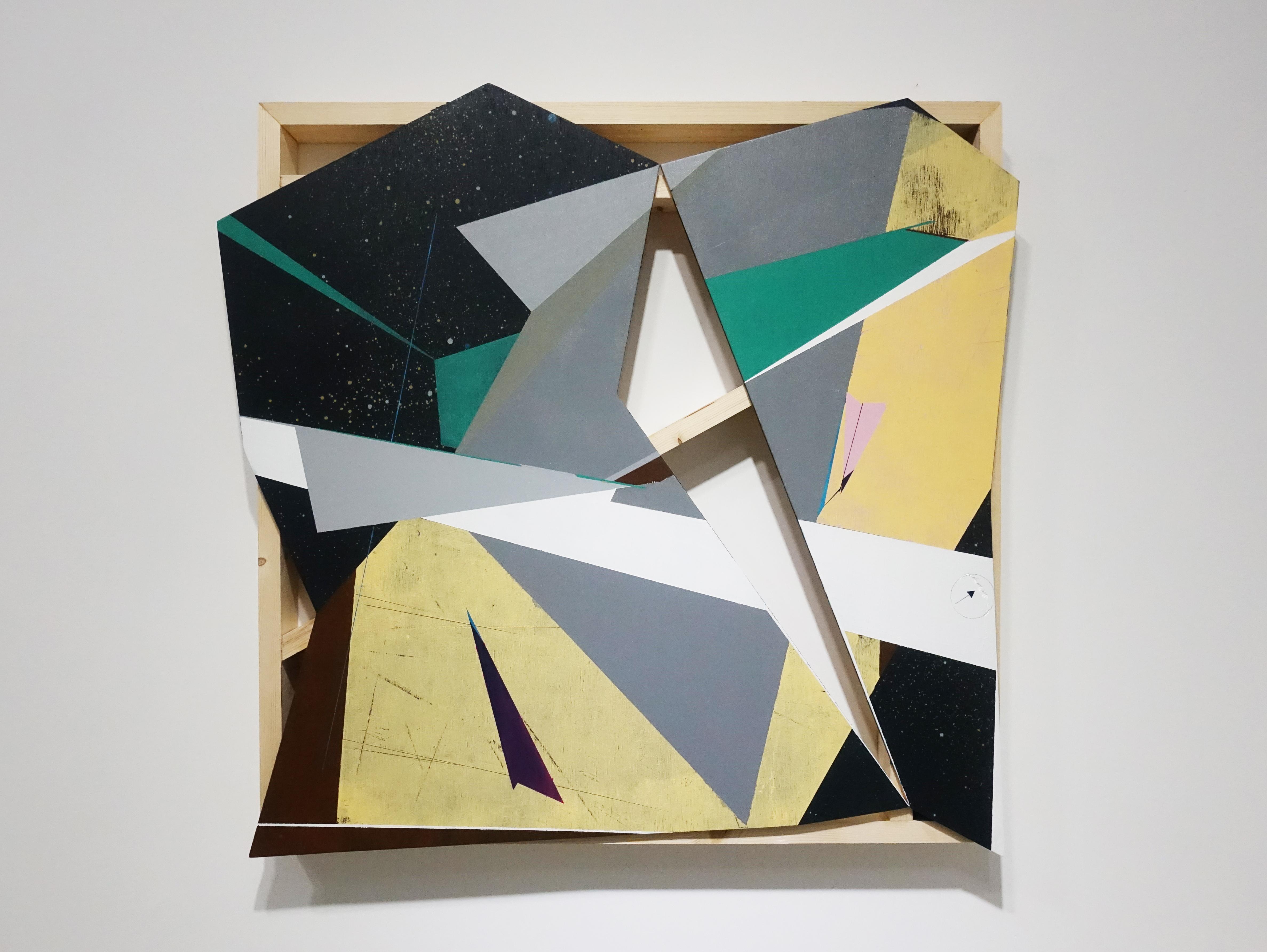 張獻文,《層敘・砌4》,60x60x5 cm,木板、丙烯酸顏料、炭精筆、鉛筆,2019。