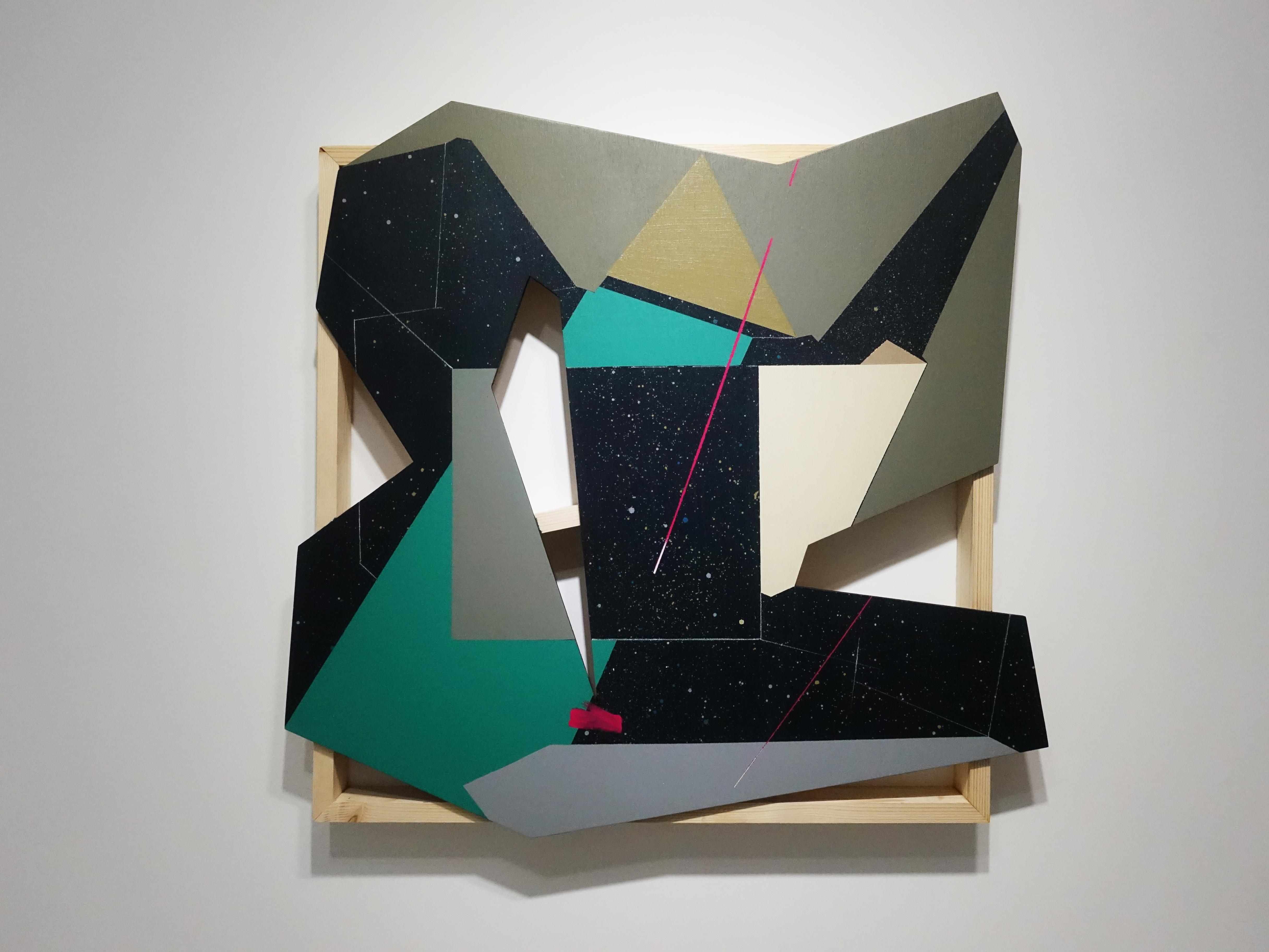 張獻文,《層敘・砌2》,60x60x5 cm,木板、丙烯酸顏料、炭精筆、鉛筆,2019。