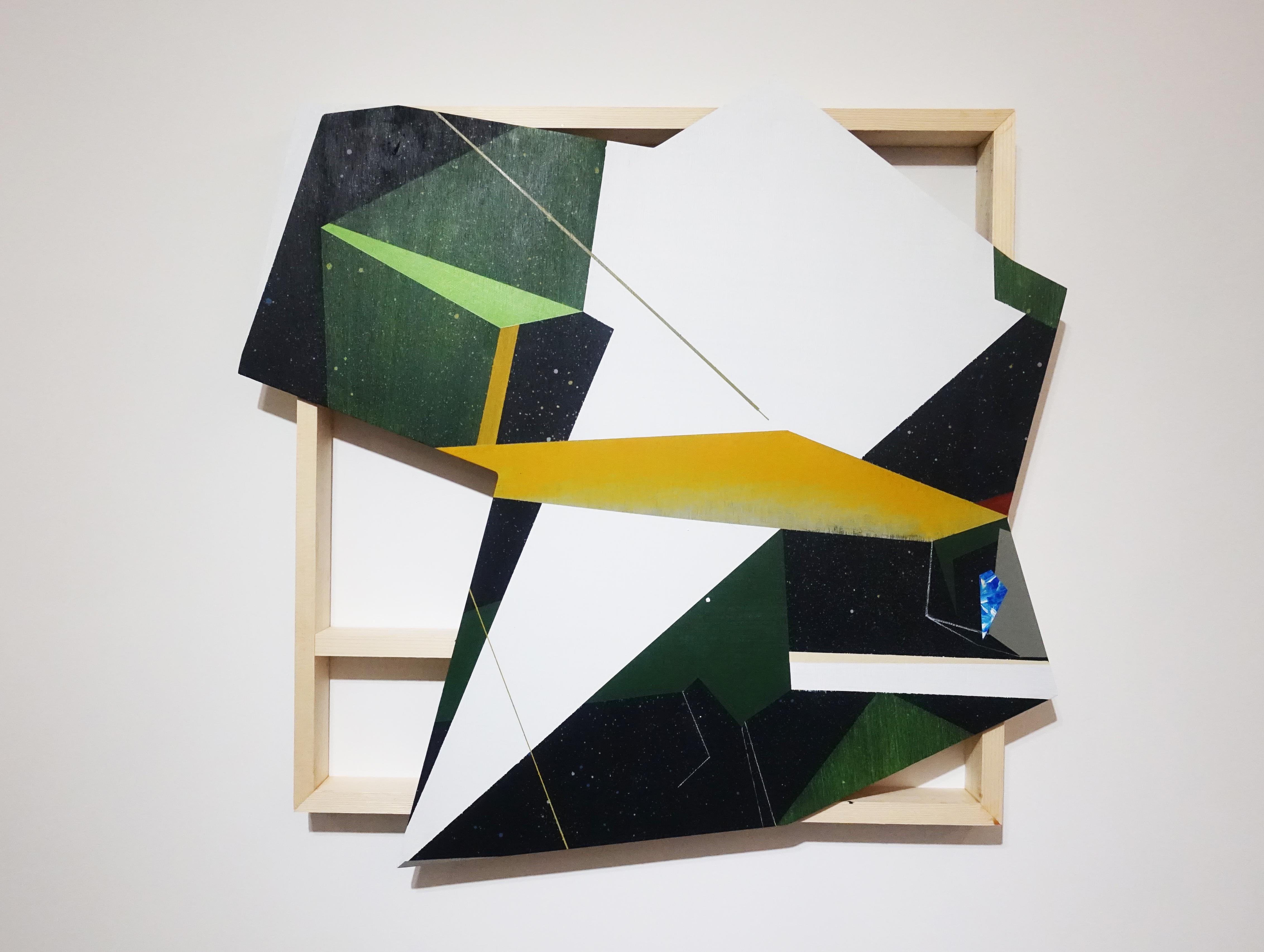 張獻文,《層敘・砌1》,60x60x5 cm,木板、丙烯酸顏料、炭精筆、鉛筆,2019。