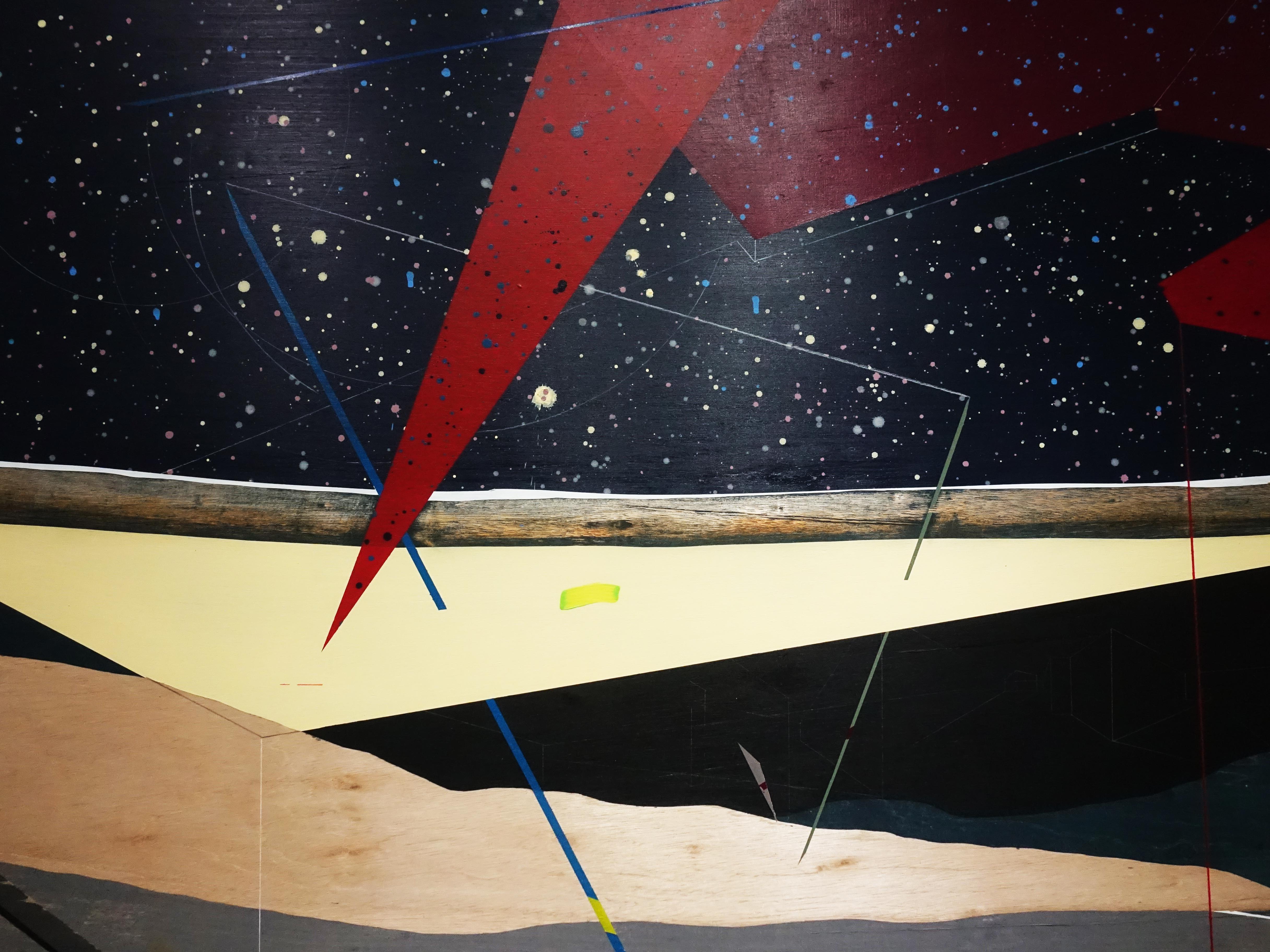 張獻文,《移植∞繁殖計畫24》系列,120x120x5 cm,木板、丙烯酸顏料、炭精筆、鉛筆,2019。