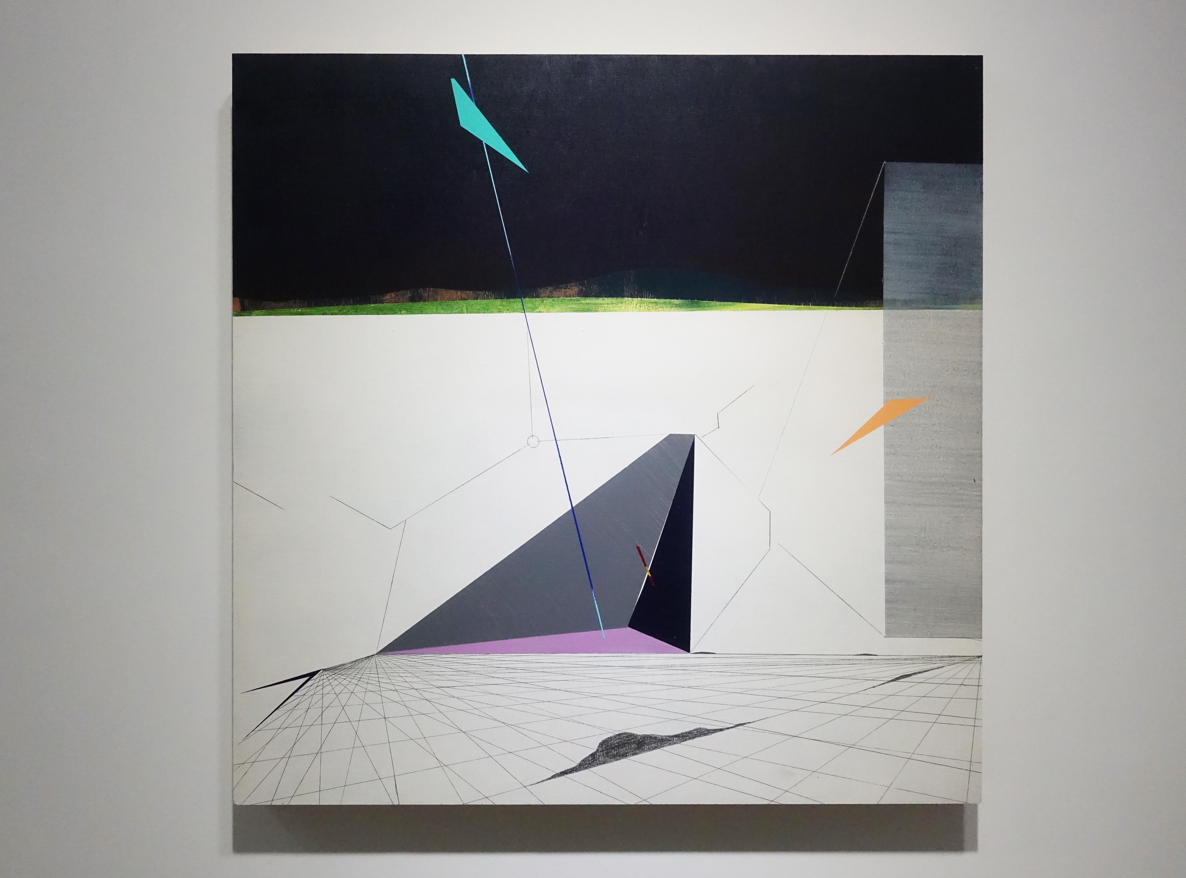 張獻文,《移植∞繁殖計畫20》,60x60x5 cm,木板、丙烯酸顏料、炭精筆、鉛筆,2019。