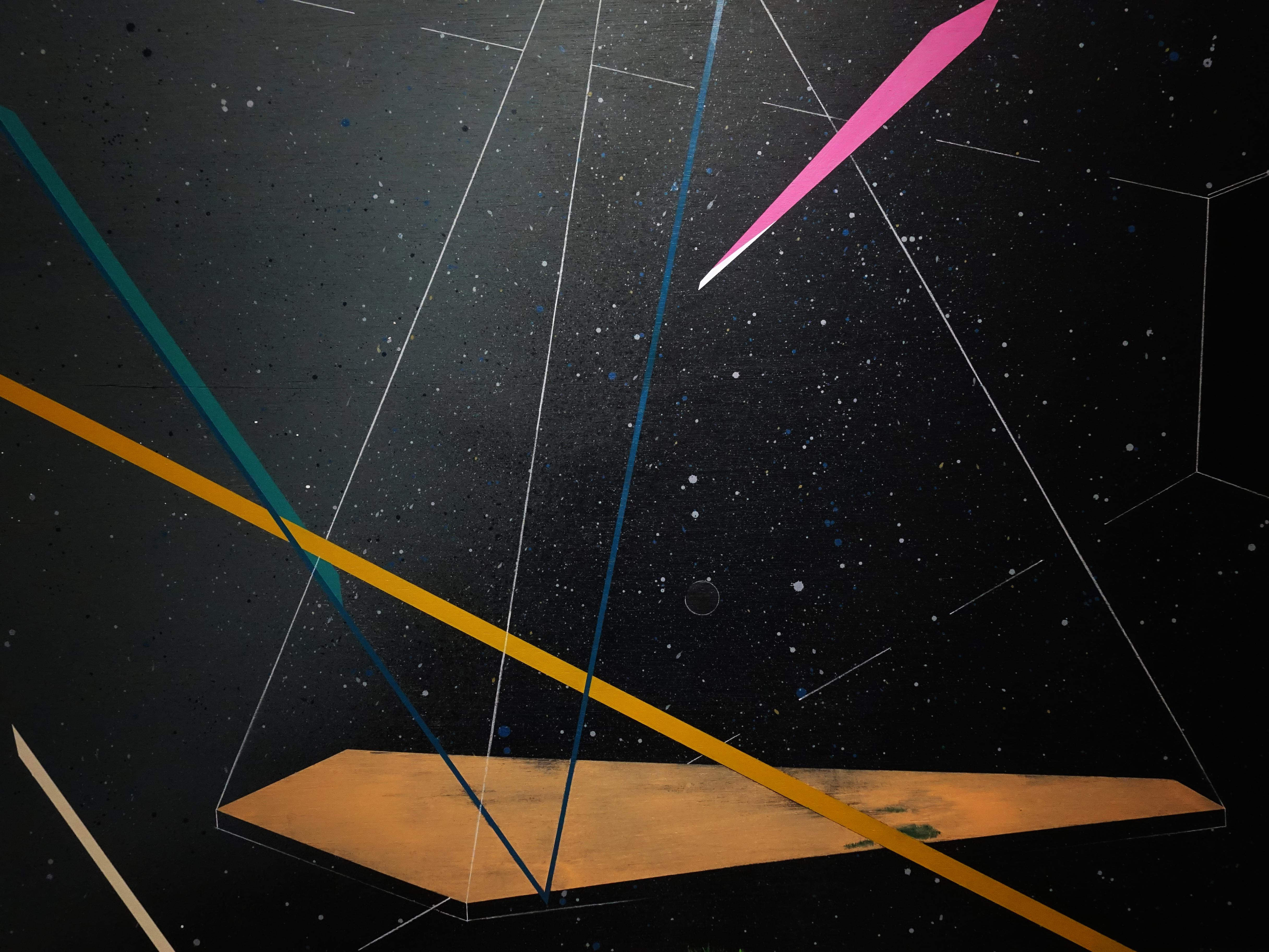 張獻文,《移植∞繁殖計畫23》,120x120x5 cm,木板、丙烯酸顏料、炭精筆、鉛筆,2019。