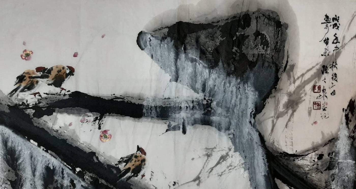 陳久泉 《覓詩》 2019  65×35公分  紙本