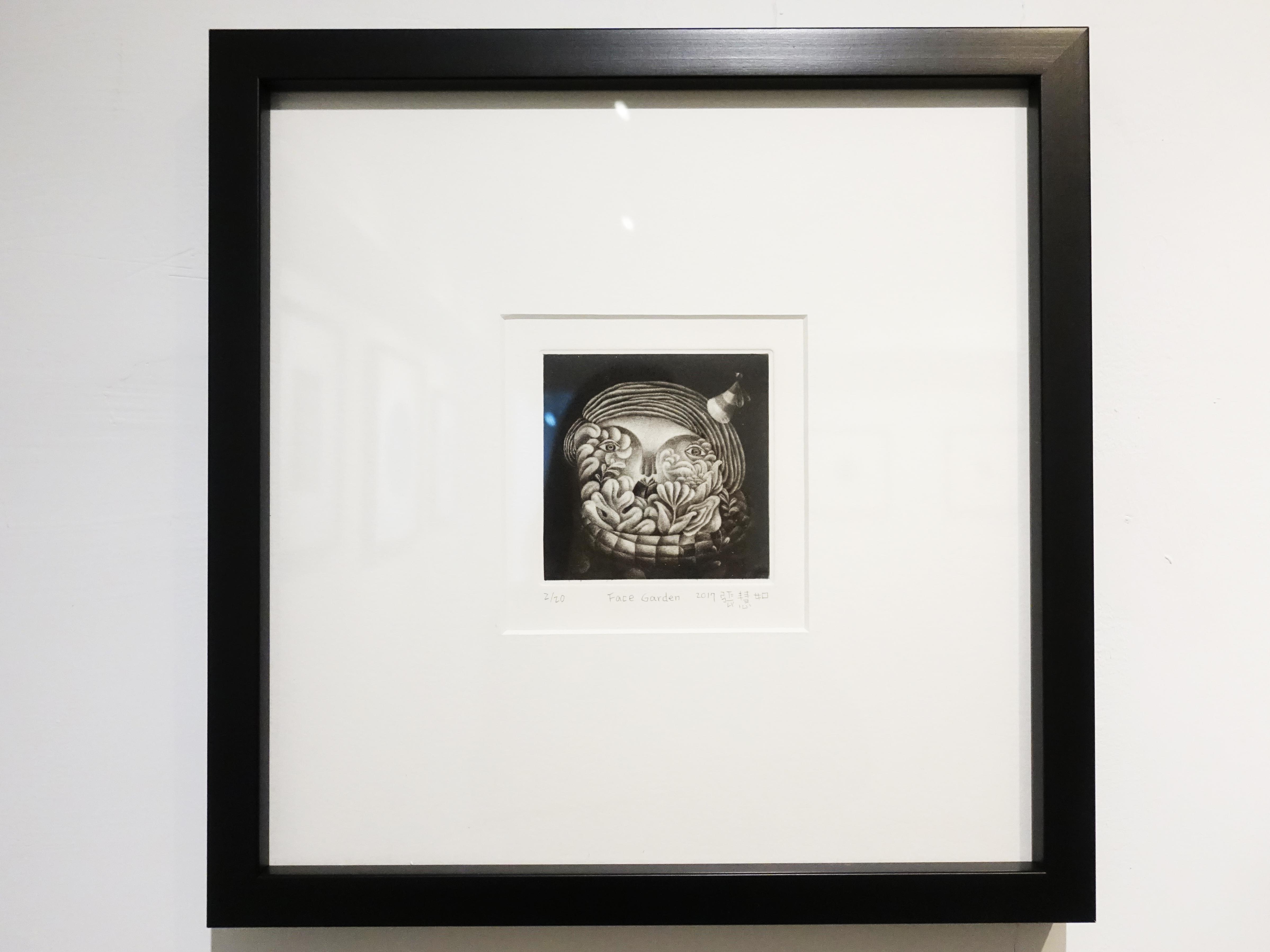張慧如,《Face Garden》,10 x 10 cm,美柔丁2/20,2019。