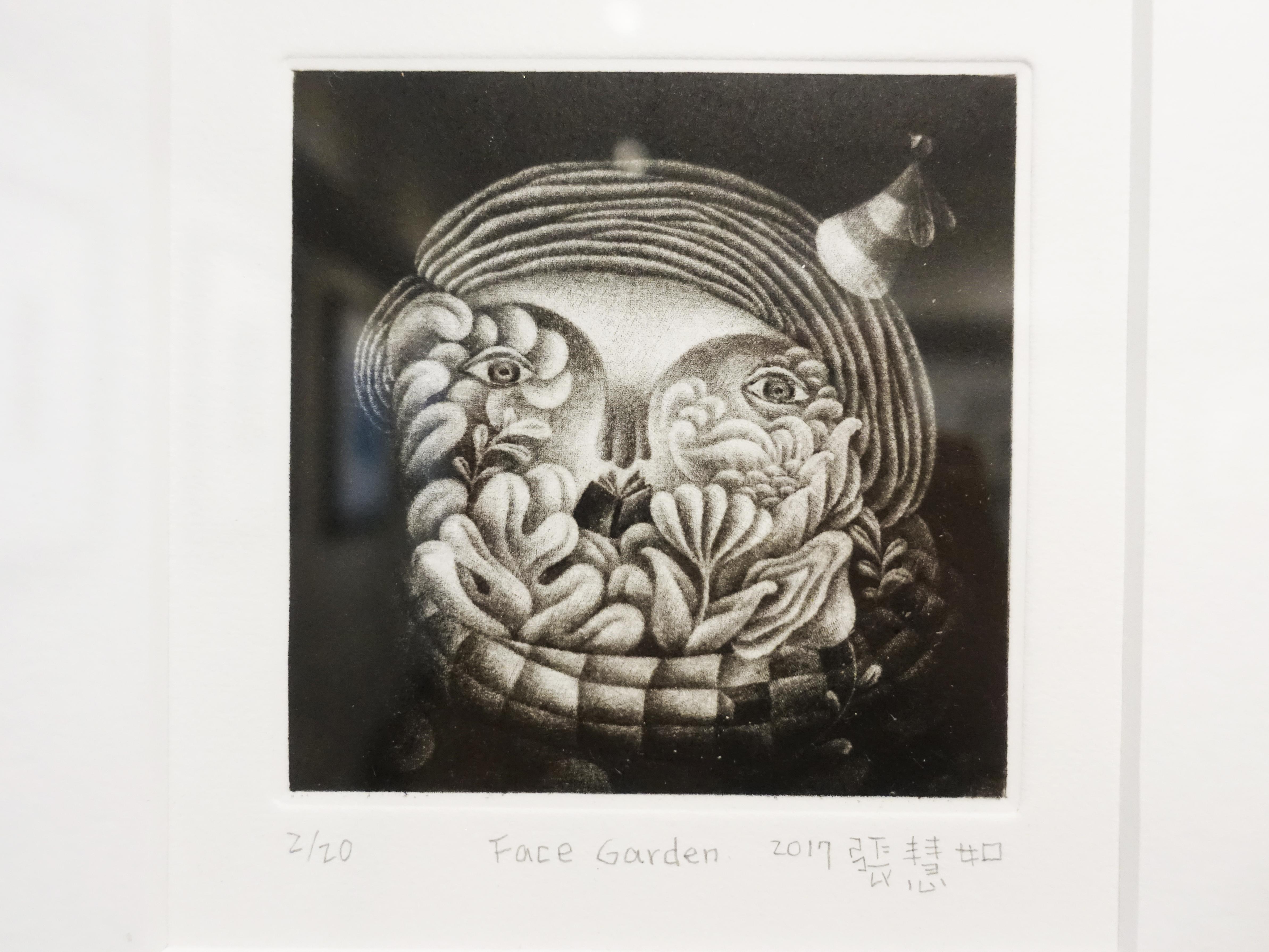 張慧如,《Face Garden》細節,10 x 10 cm,美柔丁2/20,2019。