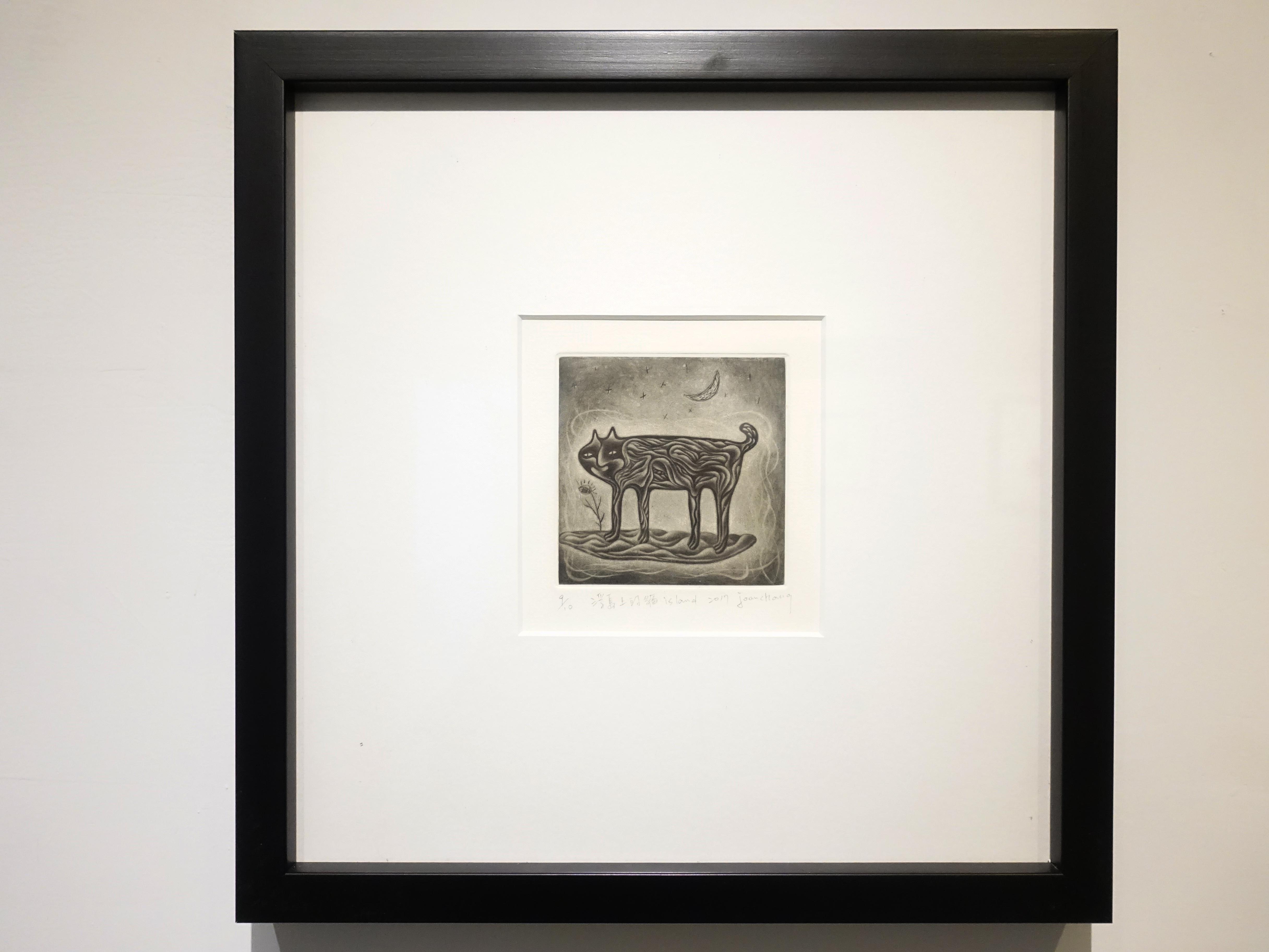 張慧如,《浮島上的貓》,10 x 10 cm,美柔丁9/20,2017。