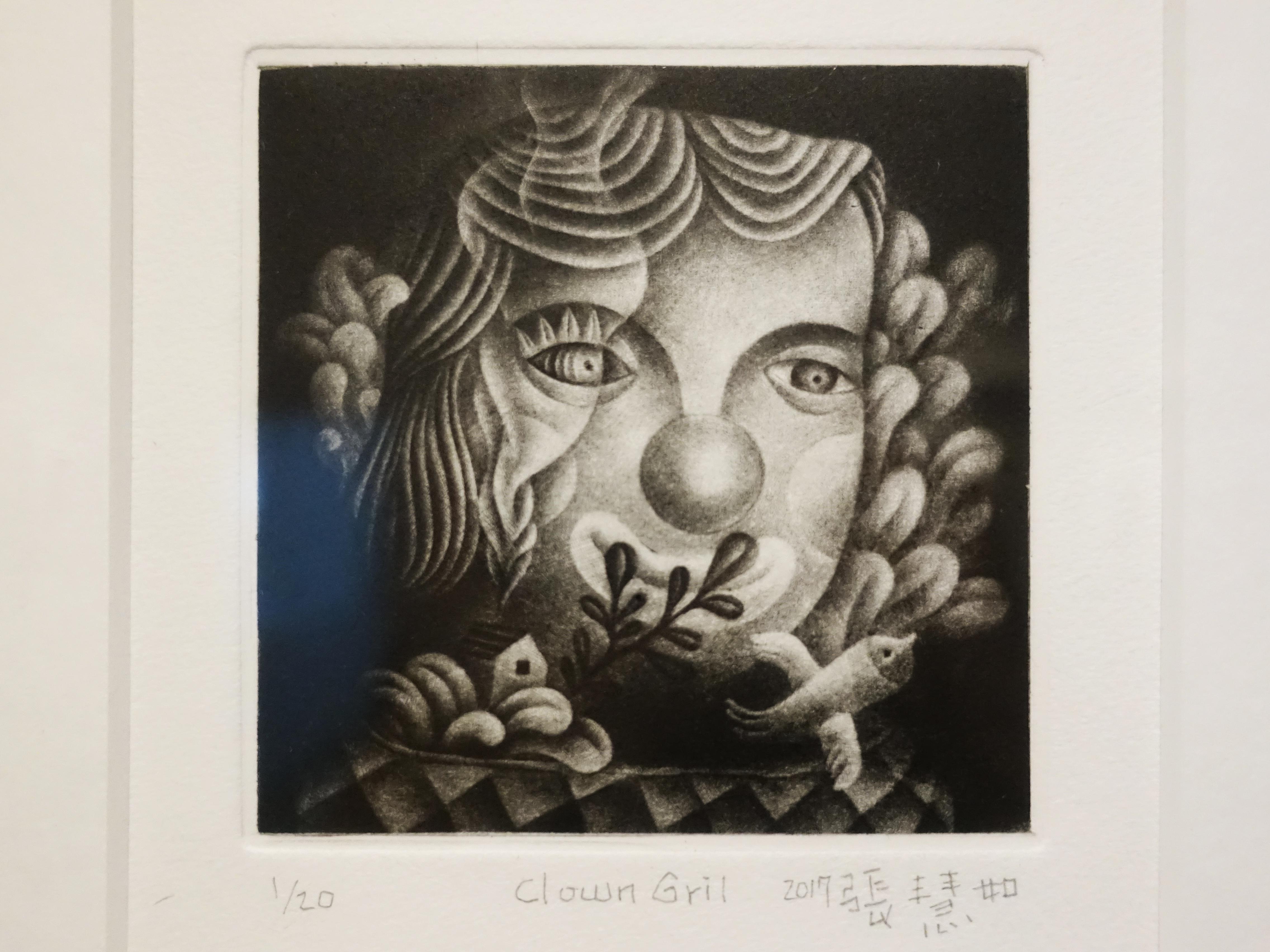 張慧如,《Clown Girl》細節,10 x 10 cm,美柔丁1/20,2019。
