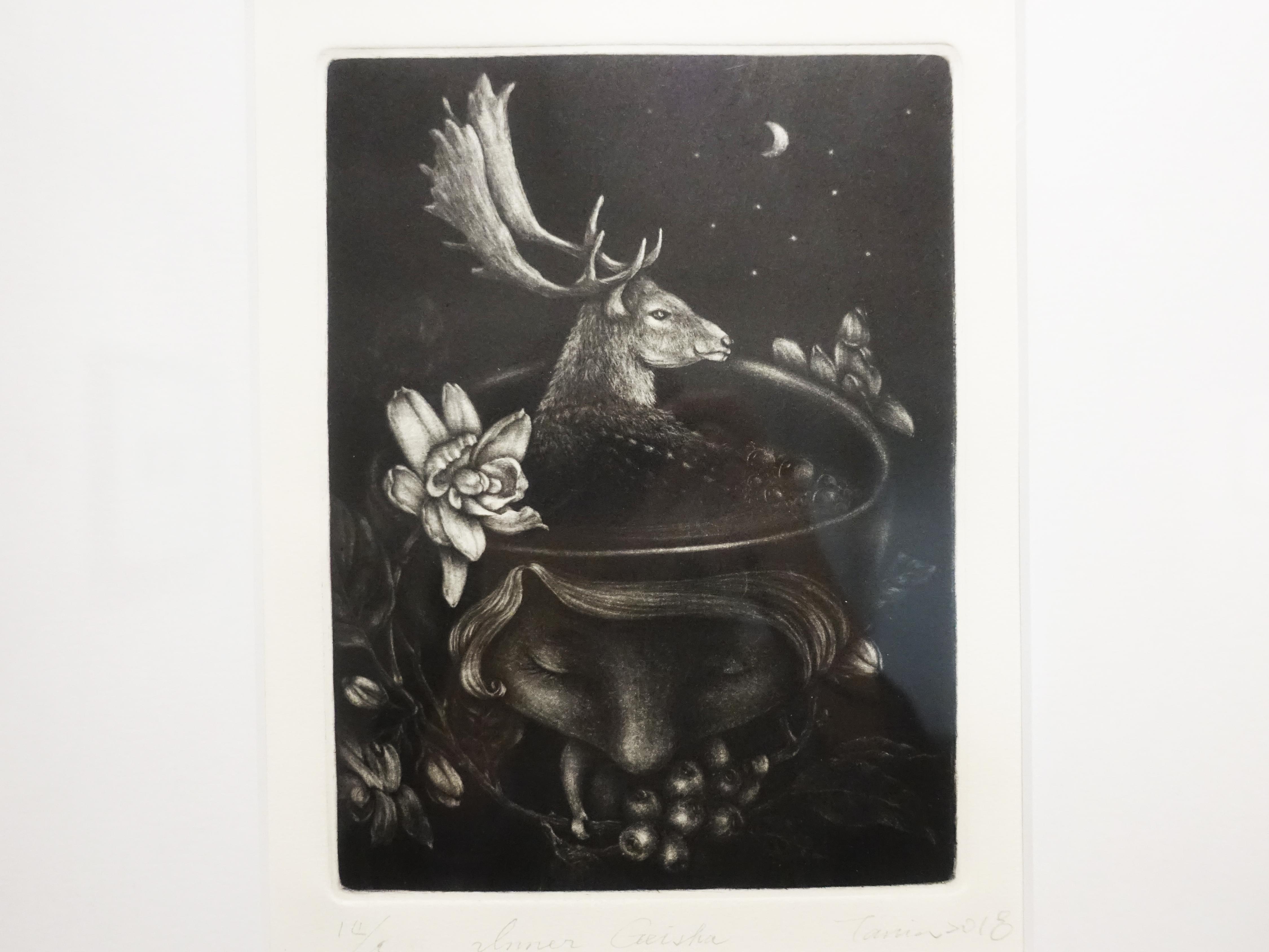 周姲醇,《Inner Geisha》,15 x 20 cm,美柔丁14/25,2018。