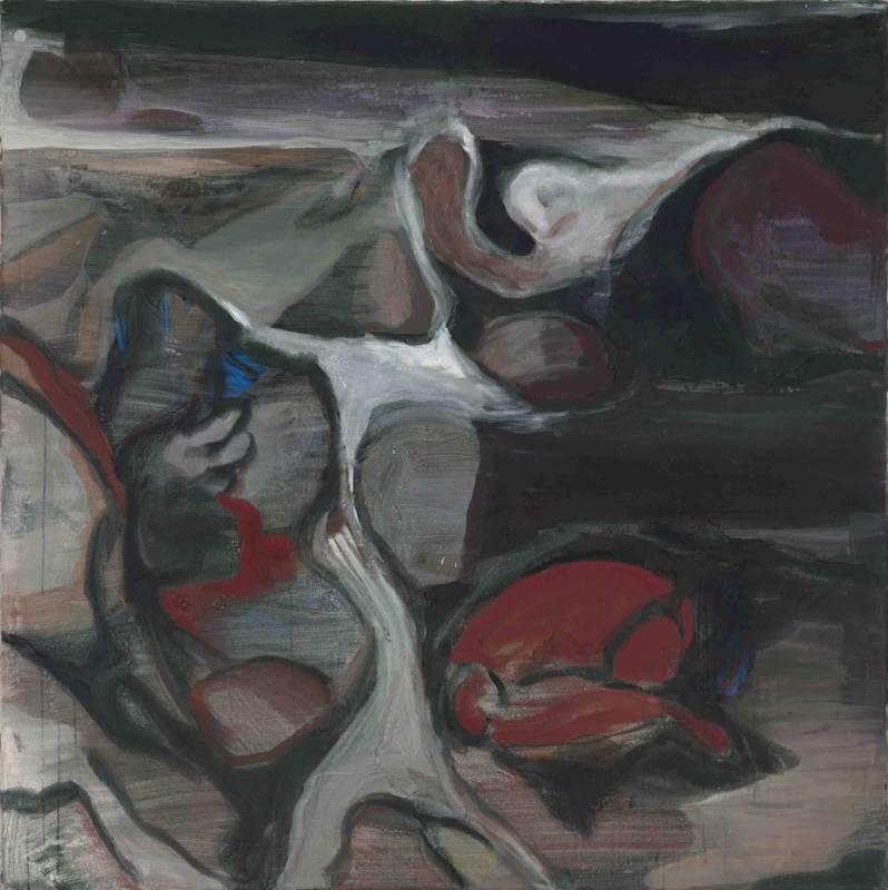 池農深Wei-Jane CHIR_最好的青春1989 Series 3 - The Best of Youth_180x180cm_礦石粉末、壓克力顏料、畫布Pigments and acrylic on canvas_1990s