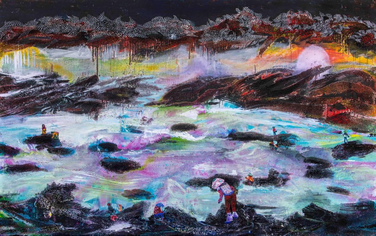 王淑鈴 Suling WANG_大地承載萬物Earth carries everything_210x340cm_油彩、膠彩、沙、綜合媒材、畫布Oil, acrylic, sand and mixed media on canvas_2019