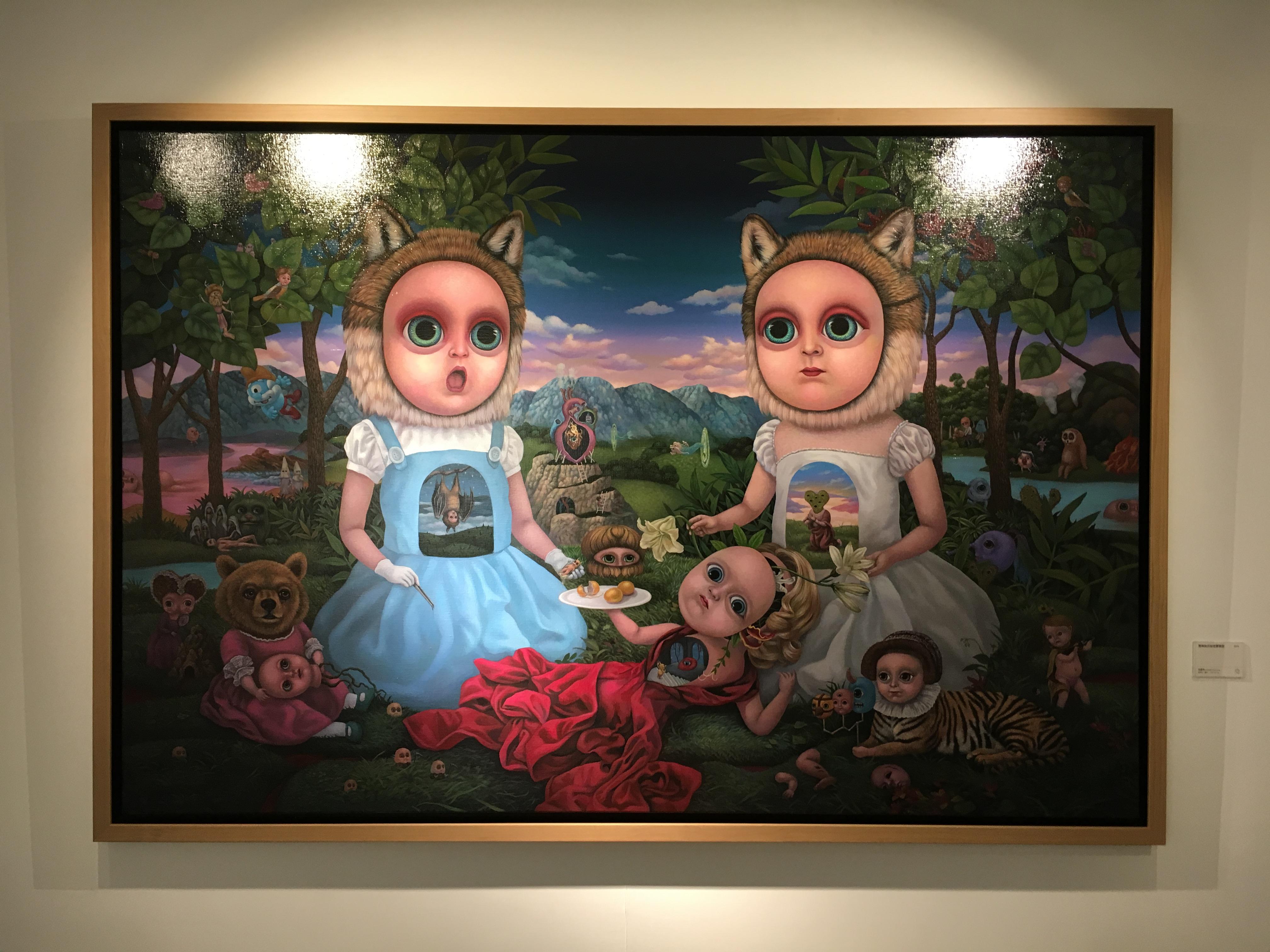張嘉穎,《雙胞胎的秘密實驗室》,130 x 194 cm,壓克力、畫布,2016。
