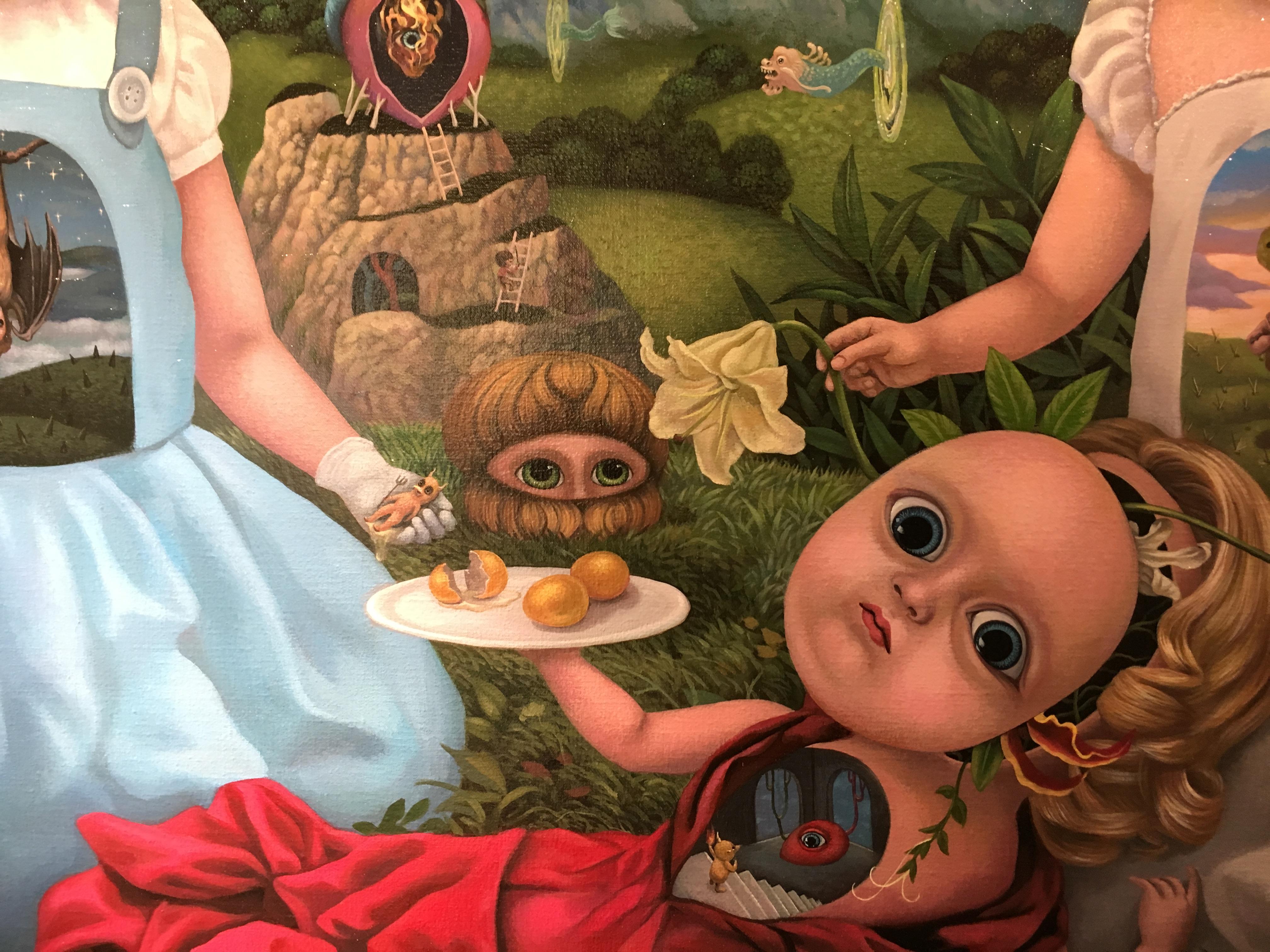 張嘉穎,《雙胞胎的秘密實驗室》細節,130 x 194 cm,壓克力、畫布,2016。
