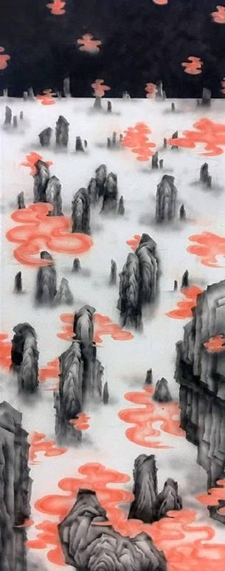 王柔茵 Wang, Rou-Yin - 層層之巒-3 (2019 複合媒材 39 x 95cm)(心動藝術空間 ART INFLUENCE)