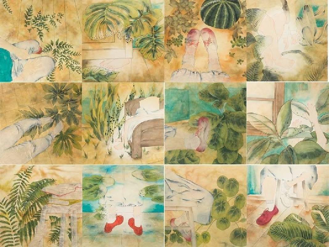 吳庭鳳 Wu, Ting-Feng - 日常溫 Daily (2019 彩墨、紙本 160 x 120cm)(心動藝術空間 ART INFLUENCE)