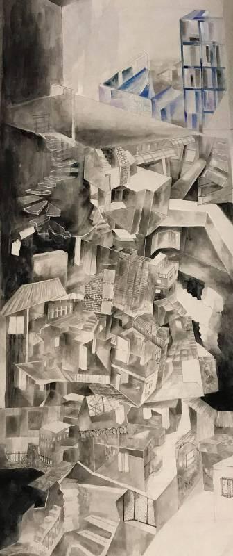許悅庭 Hsu, Yueh-Ting - 分˙層 Floor(2019 彩墨、紙本 121 x 51cm)心動藝術空間 ART INFLUENCE)