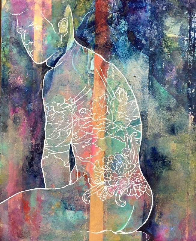 解翎 Hsieh, Ling - 迷 Psychedelic(2019 膠彩、紙本 27 x 22cm)(心動藝術空間 ART INFLUENCE)