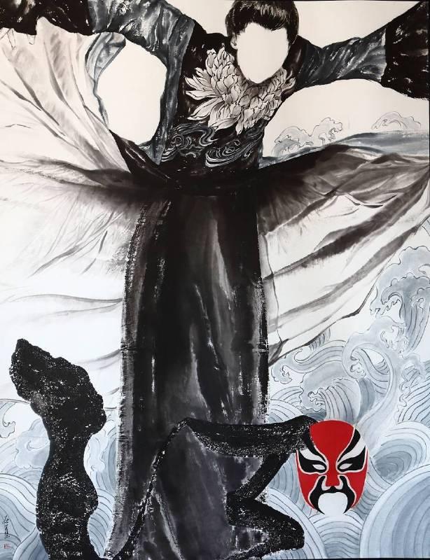 蔡美慧 Tsai, Mei-Hui - 禪心透觀 Mask Off(2019 彩墨、紙本 160 x 127cm)(心動藝術空間 ART INFLUENCE)