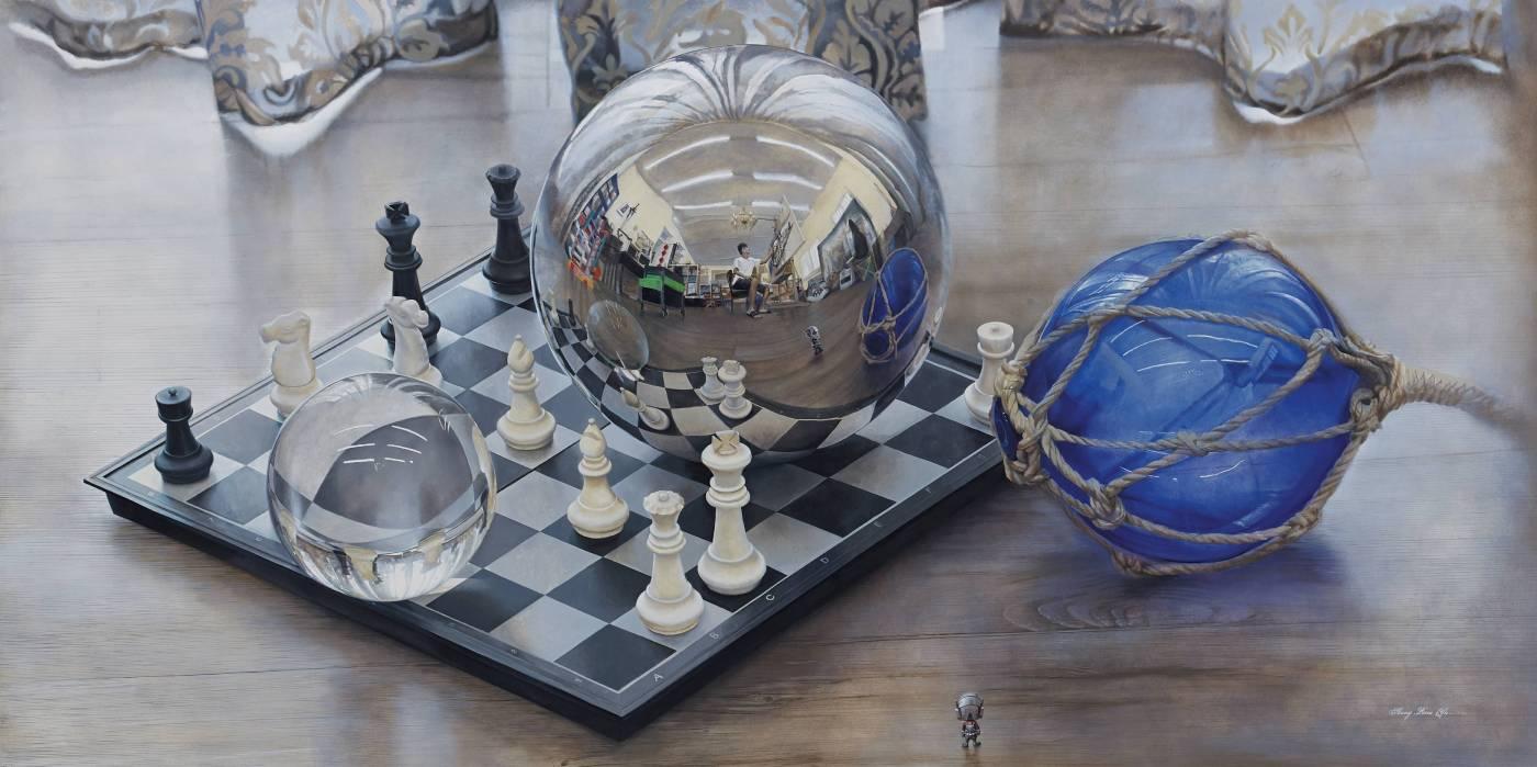 發光研究(十六)圓球折射與反射之關係_ 120M_木板上油畫_2019