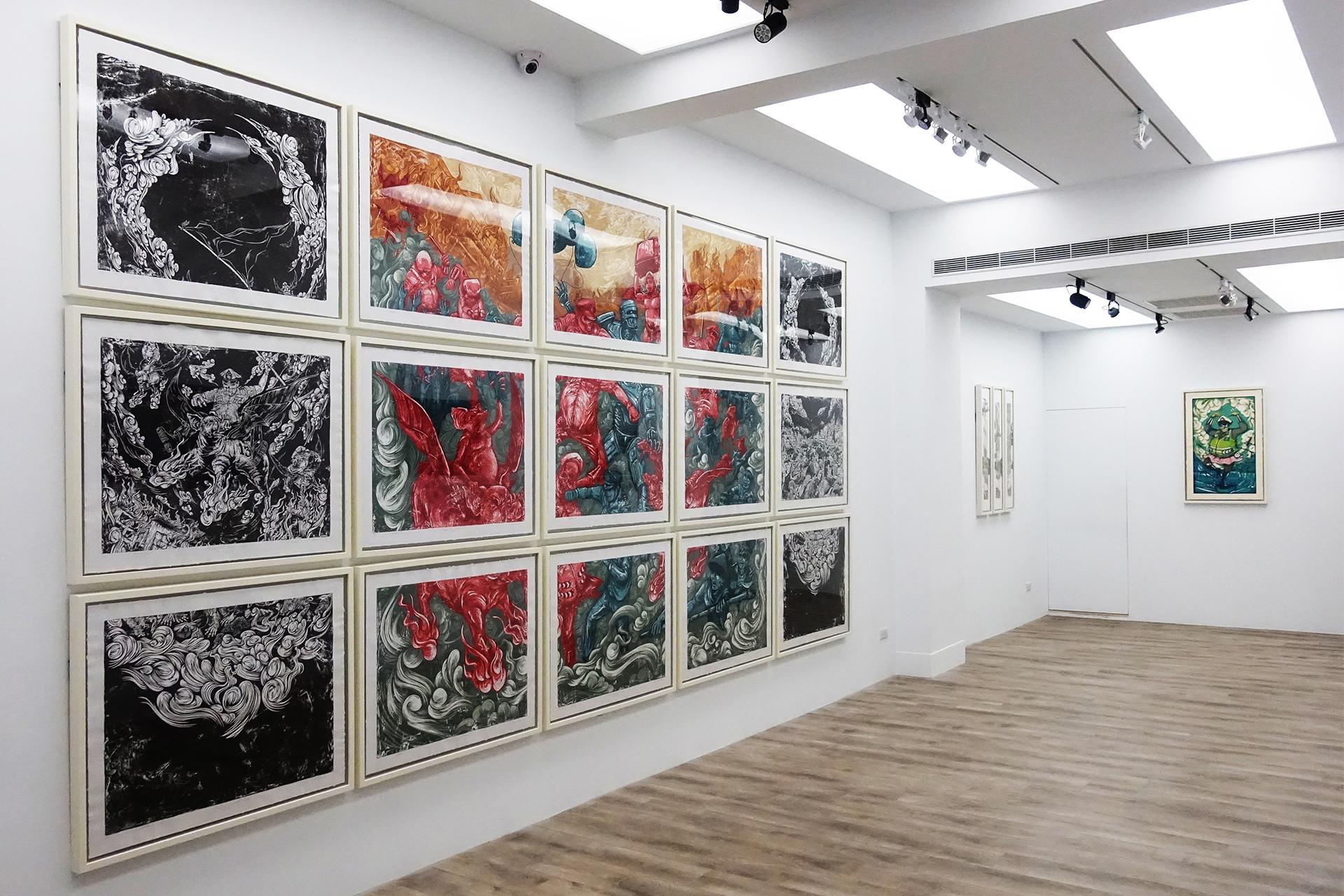 十方藝術空間展出印尼藝術家錫吉特・拉馬丹在台首次個展「紅翼之牆」。