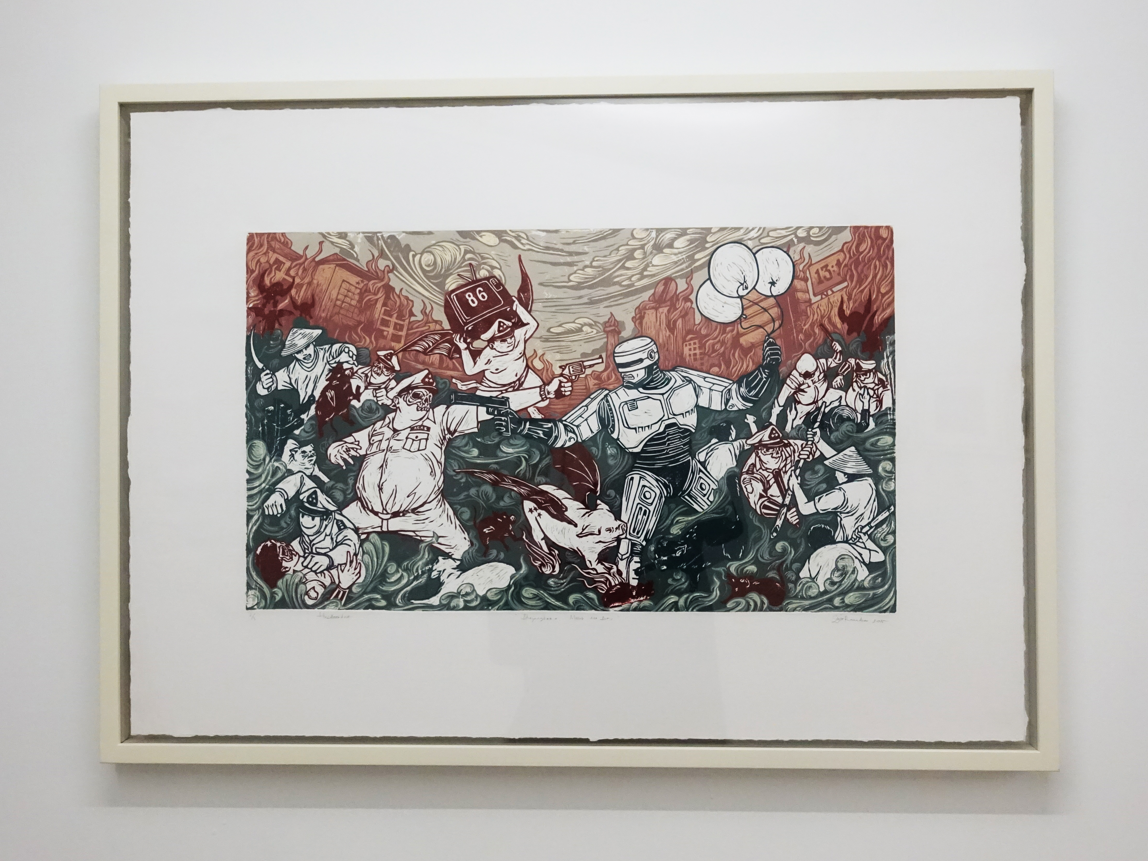 Sigit Ramadhan,《Bhayangkara Merah dan Biru》,69 x 98 cm,Reduction hardboardcut print on paper2/3,2015。