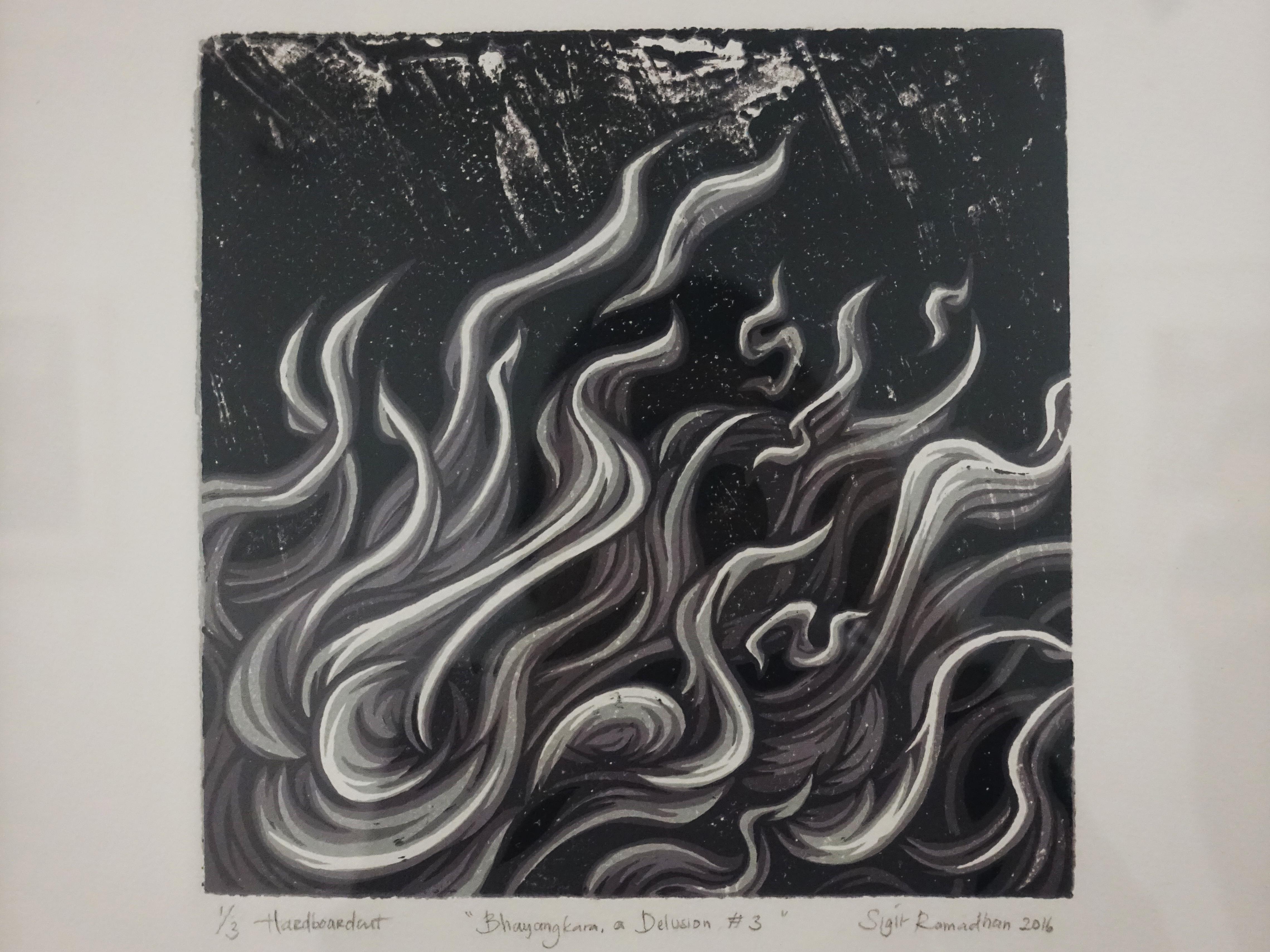 Sigit Ramadhan,《Bhayangkara,a Delusion#3》,30 x 30 cm x5,Reduction hardboardcut print on paper3/3,2016。