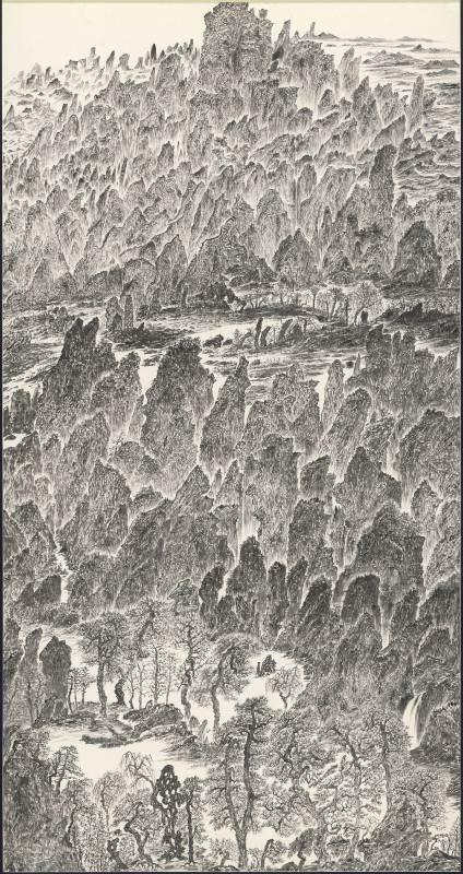 于彭 辛巳年山水聯作-1 2001 水墨、紙本 179.1×94.5cm