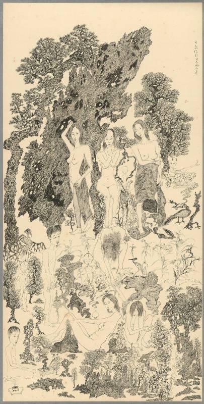 于彭 慾望山水:枯木逢春 l 2000 水墨、紙本 135.8×67.9cm