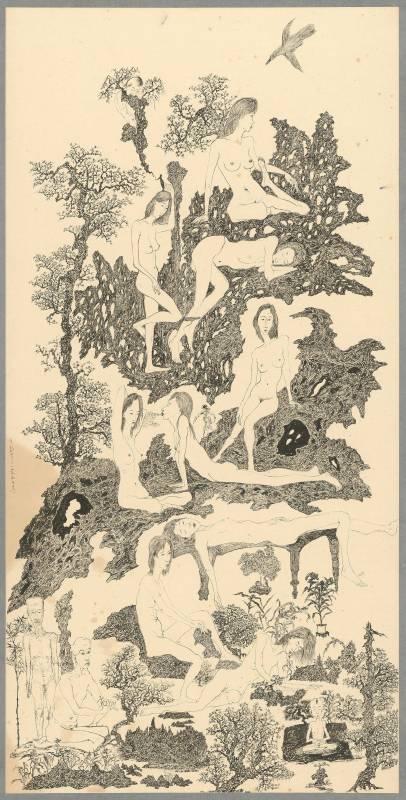 于彭 慾望山水:枯木逢春 ll 2000 水墨、紙本 136.2×68.1cm