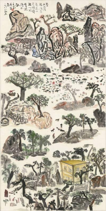 于彭 春天水波綠漪生 1988 彩墨、紙本 137.2×68.4cm