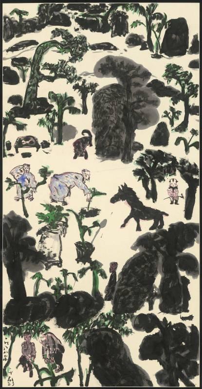 于彭 人物・樹石・怪獸 1988 彩墨、紙本 134.6×68.9cm