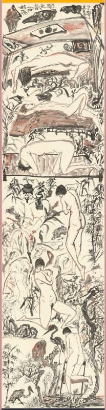于彭 桂蔭廬春色鬧 2001 彩墨、紙本 133.4×33.6cm