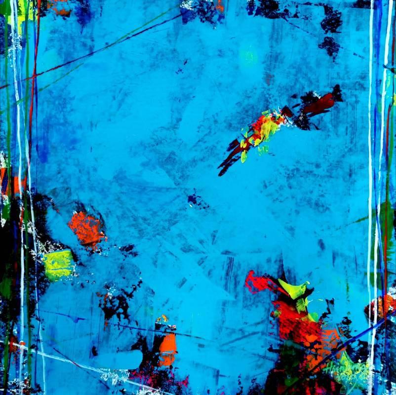 人生浮萍壓克力顏料‧厚紙板acrylic on paper50X50CM2019  風無定,人無常。人生如浮萍,聚散兩茫茫。百年苦短,過盡千帆,落英滿懷,暗香盈袖。 總有一抹記憶,會讓人難忘;總有一處風景,會讓人縈繞。 這是2019到大陸參加交流展未展的同系列作品,以一種不同的心態來表現我的抽象畫一些情懷的另一篇。 抽象繪畫作品無非是線條與色彩所構築的畫面,所以線條是協調的符號。