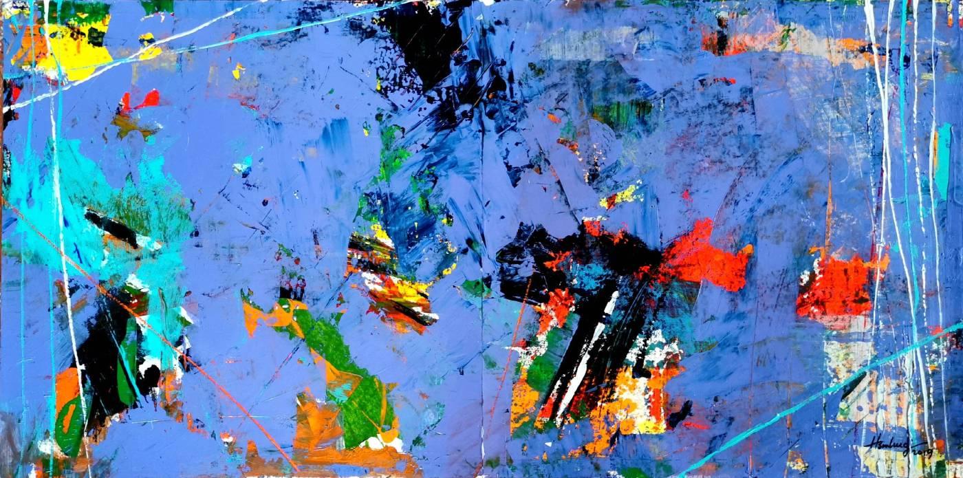 拂曉風壓克力顏料‧厚紙板acrylic on paper50X100cm2019  這一系列作品雖然與唐詩宋詞有關。其實是以古人的文字詞藻當作題目表現。 不管是流暢文字或是華麗詞藻,都能呈現抽象畫的意境。 就畫面而言,其色彩與線條都是為了畫面的協調。  拂曉風就是早上所吹的微風,其實這裡有風、光、水、綠。就如同一條一條的缐,是詩走過的痕跡。一片片的色彩,是風吹過的愛意。