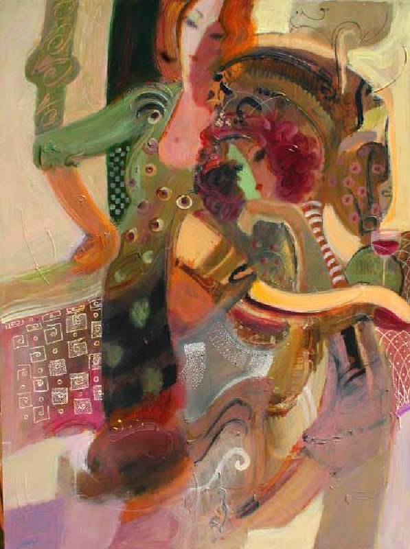 Mahmood Sabzi《流金歲月 Two Women》Acrylic on Canvas 76x101cm 2018