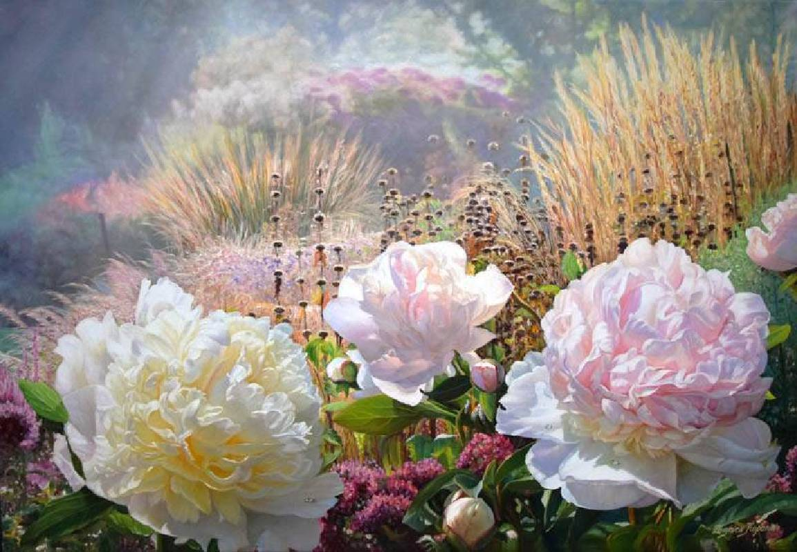 Zbigniew Kopania《晨間的牡丹花	Morning peonies》Oil on Canvas  90x60cm 2018
