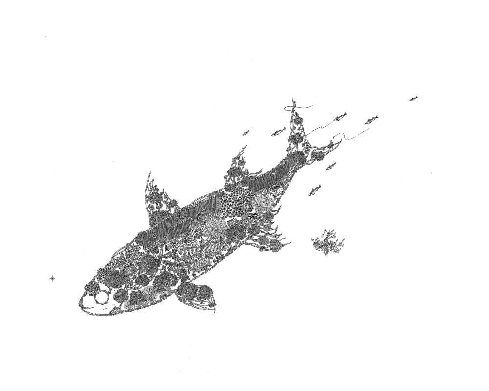 〈大寒〉,2018,鋼筆,52×38 cm,藝術家自藏。