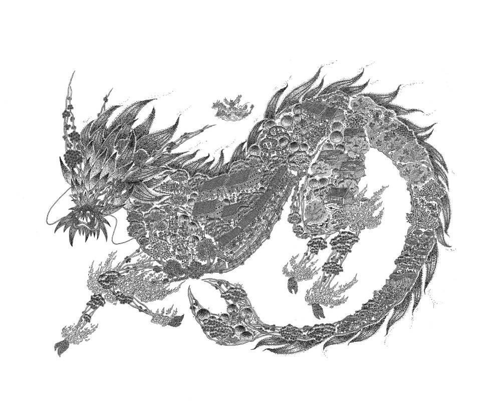 〈立春〉,2018,鋼筆,52×38 cm,藝術家自藏。