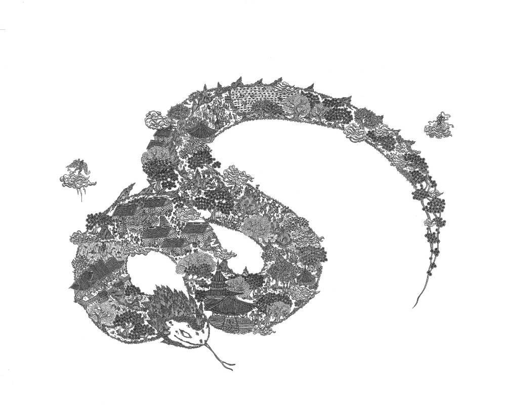 〈驚蟄〉,2018,鋼筆,52×38 cm,藝術家自藏。