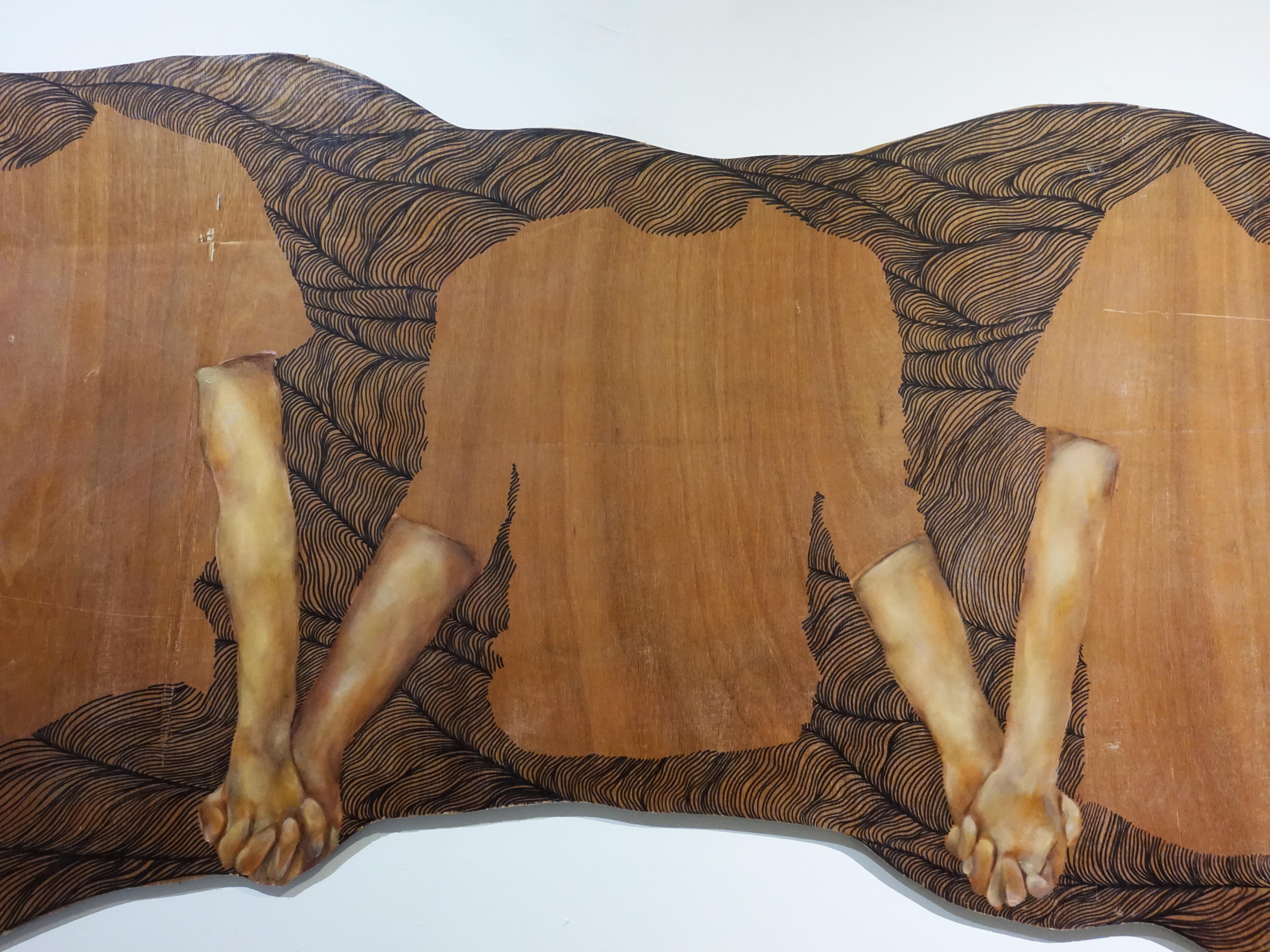 連師屏,《我們就是我們所想的》細節,木材、油彩,78 x 130 cm,2017。