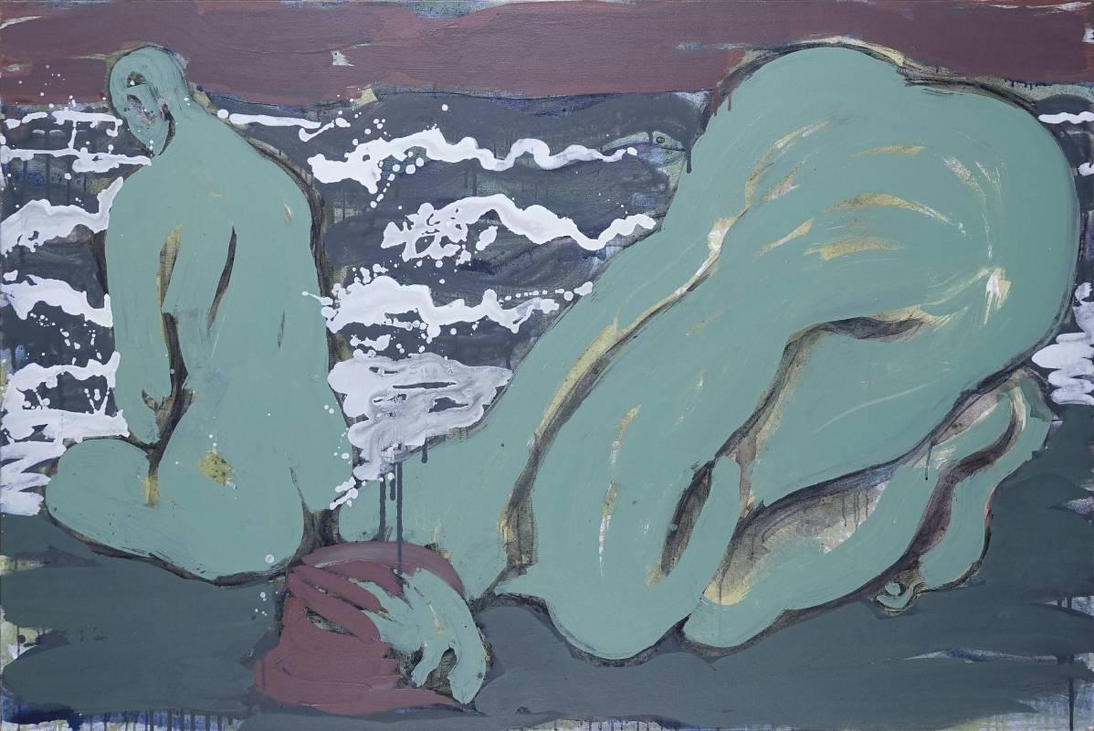 毛旭輝,《夜•大海的聲音》,壓克力彩、畫布,119×180cm,2019。