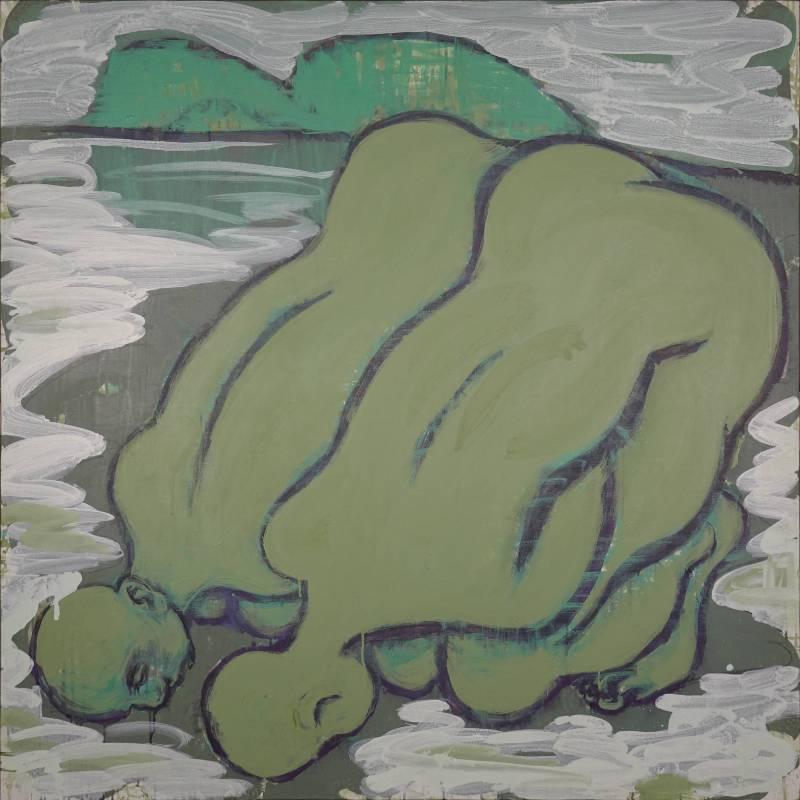 毛旭輝,《致敬肖斯塔科維奇》,壓克力彩、畫布,142×142cm,2019。