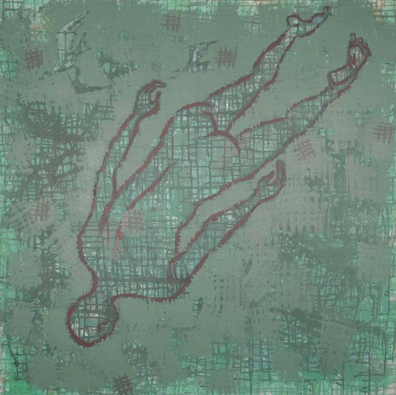 毛旭輝,《被信息吞沒的人》,壓克力彩、畫布,142×142cm,2019。
